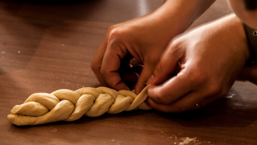 Baking challah with love photo
